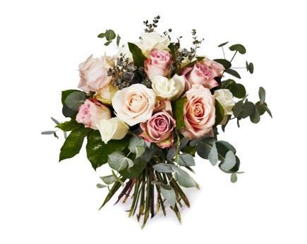 Stående sorgbukett, blandade rosor